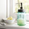 mason jar turned soap dispenser!Mason Jars Soaps, Ball Jars, Soaps Dispeners, Soap Dispenser, Masons, Crafts Ideas, Canning Jars, Soaps Provide, Crafts Projects