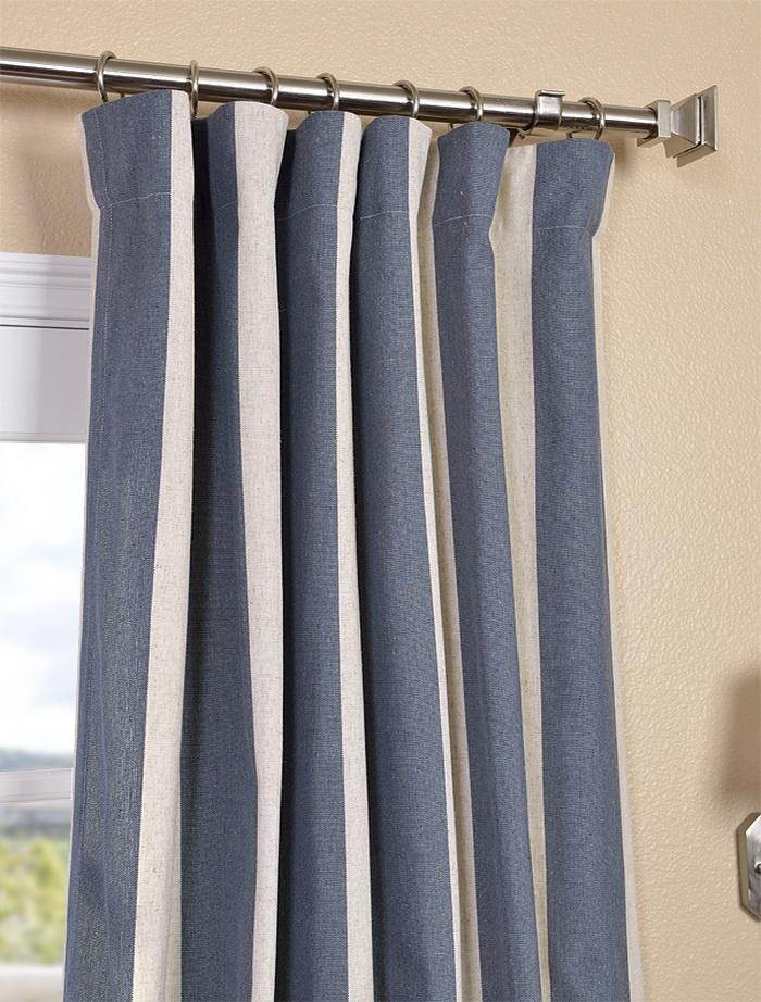 Veranda navy stripe linen blend curtain new house decorating pint