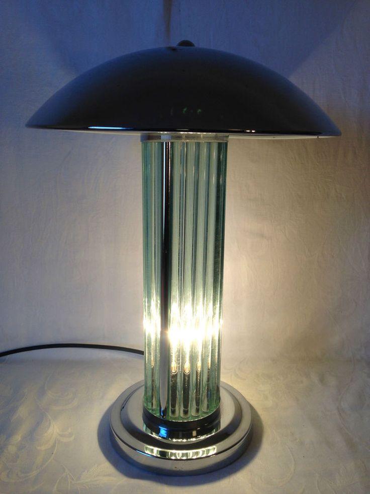 Fancy Bauhaus Art D co Lampe Schreibtischlampe Bankerlampe bankers lamp Chrom