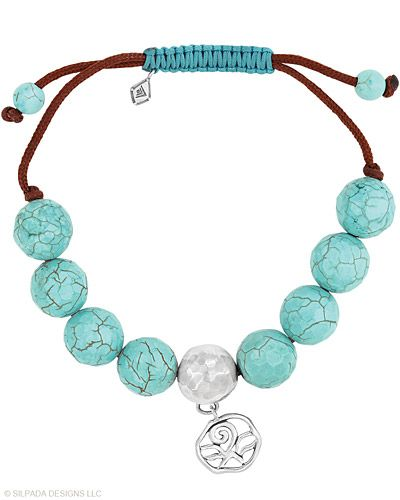 Wear one or tons for more fun! This Silpada-ish friendship Bracelet will be your new BFF. Adjustable Sliding Clasp. Magnesite, Cord, Sterling Silver.
