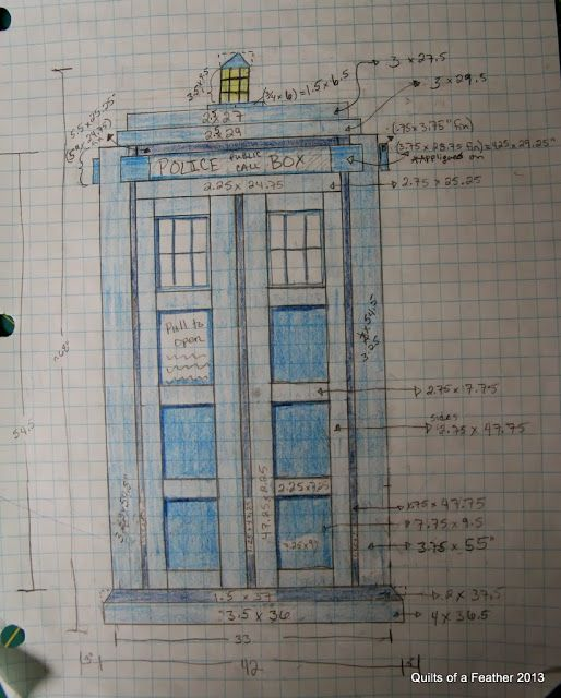 Quilts of a Feather: TARDIS Quilt design/ pattern