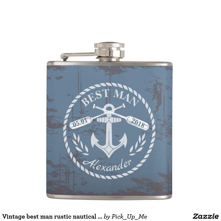 Vintage best man rustic nautical background flask