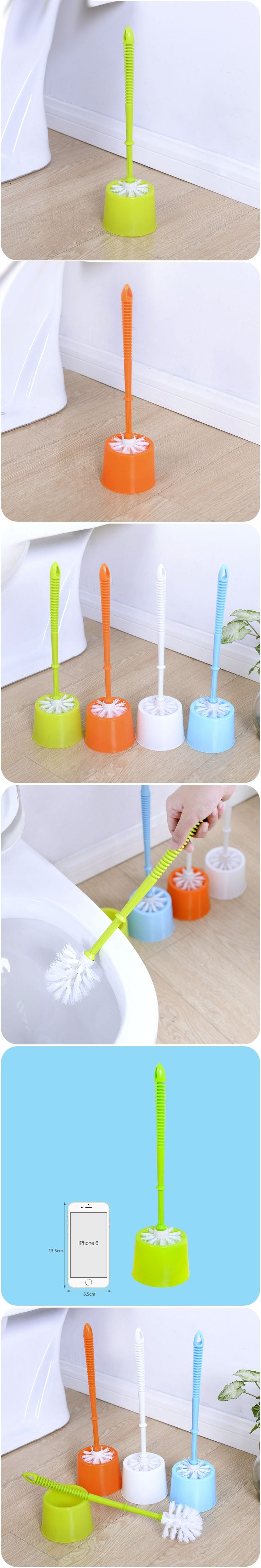 Cleaning Brush Bathroom Cleaning Supplies Soft Hair Long Handle Clean Toilet Brush Clean Plastic with Base Toilet Brush Set