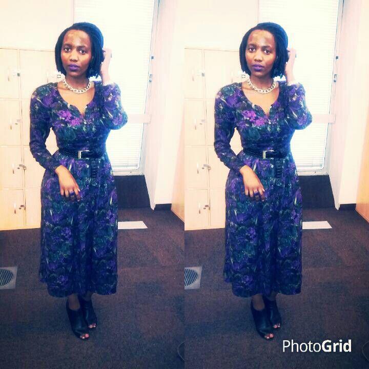 Floral vintage dress with belt