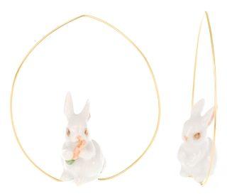 Boucle d'Oreille Créoles Lapin Blanc Carotte