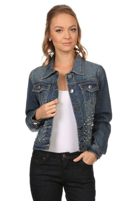 Denim Hip Length Buttoned Embellished Jacket