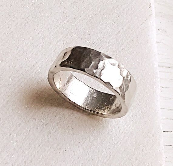 Silver Hammered Thick Ring Men Women Unisex Rustic Pewter Custom
