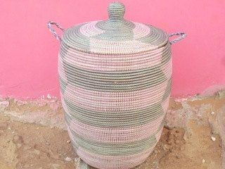 Pale pink and grey Laundry Basket, Chevron Hamper, Bubblegum Pink by africanbaskets on Etsy