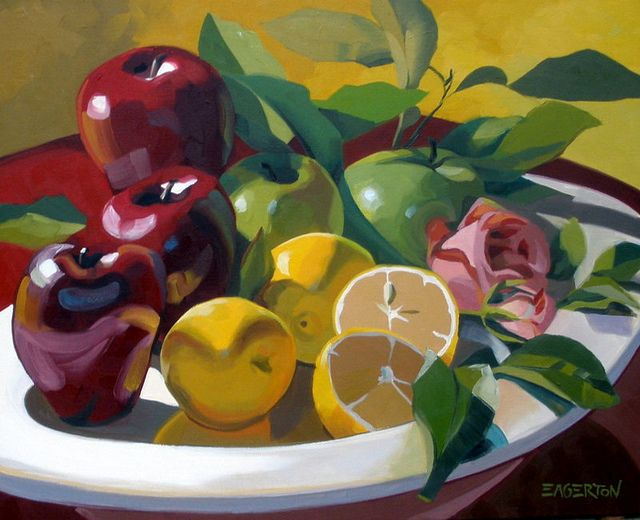 Fruit and Rose, by Leigh-Anne Eagerton, painting, via Flickr