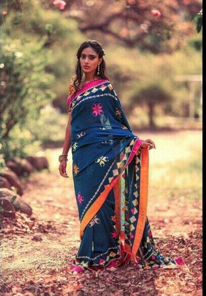 Beautiful indigo #saree in geometric embroidery work