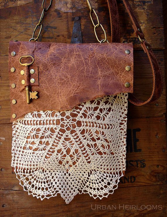 Boho Leather Festival Bag with Crochet Lace Doily and Antique  Key - MADE TO ORDER - Antique Whiskey