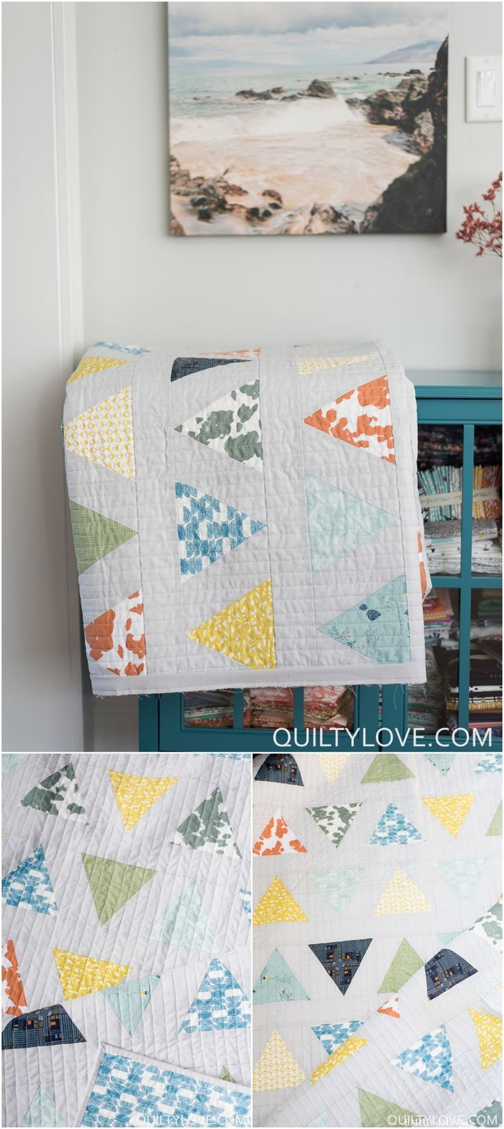 Triangle Pop Quilt Pattern by Emily of Quiltylove.com. This modern triangle quilt was made using Sharon Holland's Bountiful fabric line for Art Gallery Fabrics. Click on through for more photos and to follow the Bountiful fabrics blog tour.