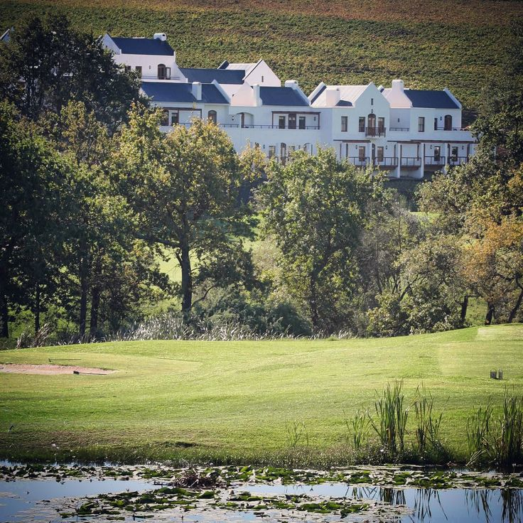 View from the De Zalze Golf Course up onto the Kleine Zalze Lodge and Wine Estate.