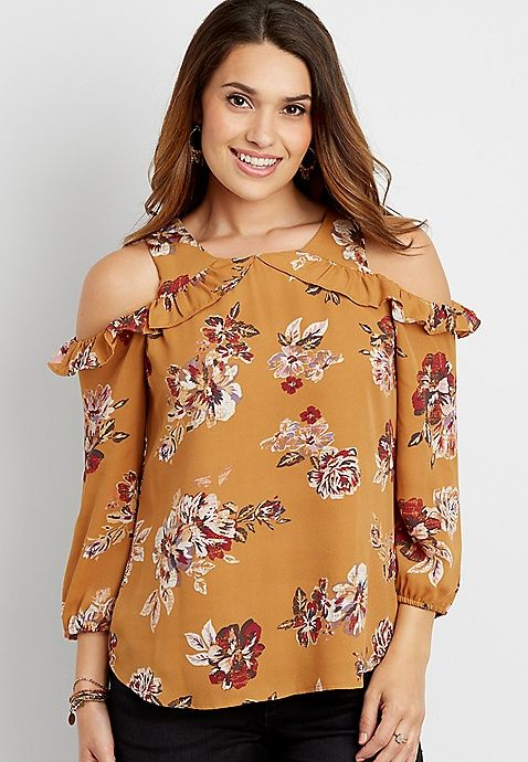 floral print chiffon blouse with ruffle and cold shoulders | maurices
