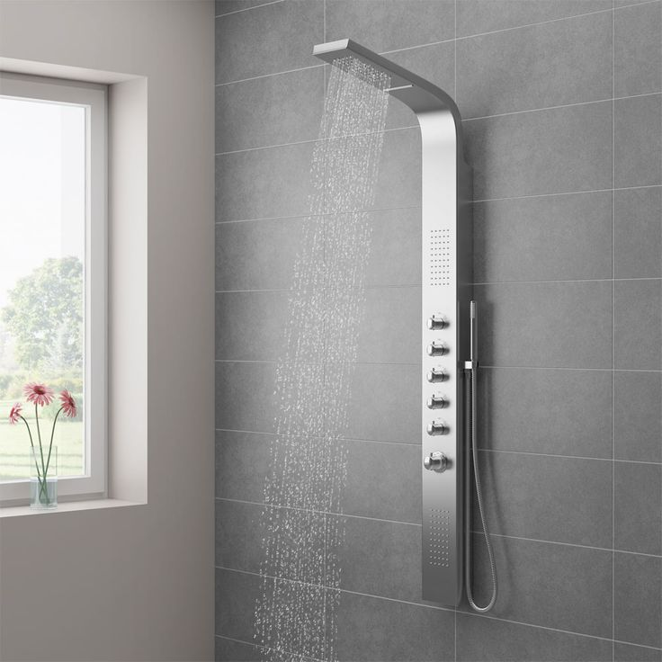 Turn your bathroom into a sleek, designer setting with the Milan Modern Stainless Steel Tower Shower Panel. Now in stock at Victorian Plumbing.co.uk.