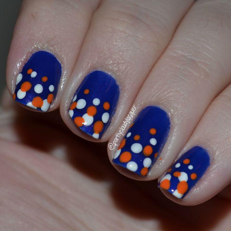 Florida Gators; orange and blue, Florida Gator nails