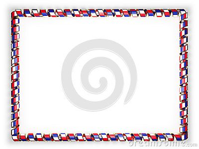 Frame and border of ribbon with the France flag, edging from the golden rope. 3d illustration.
