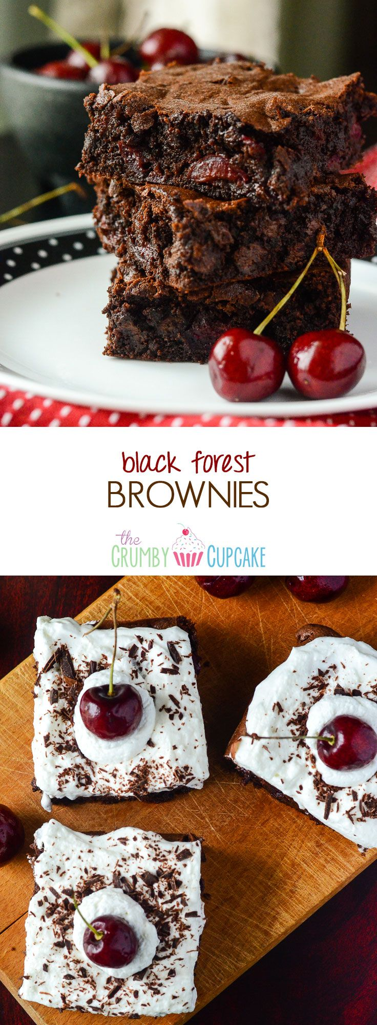 Black Forest Brownies | Super fudgy brownies, bursting with fresh cherries and chocolate chunks - truly a chocolate lover's dream!