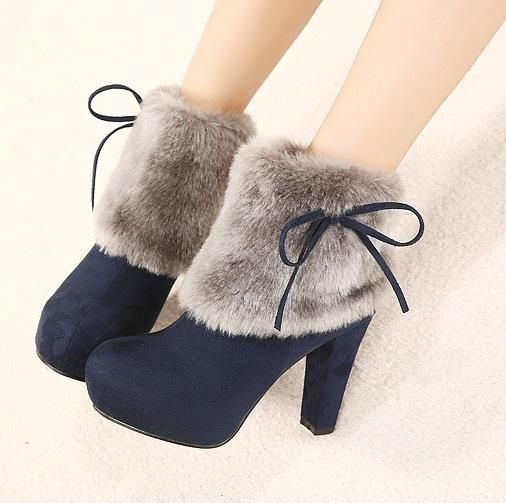 Faux Fur Knot Suede Platform Ankle Boots High Heels 4400 – #ankle #Boots #euro #…