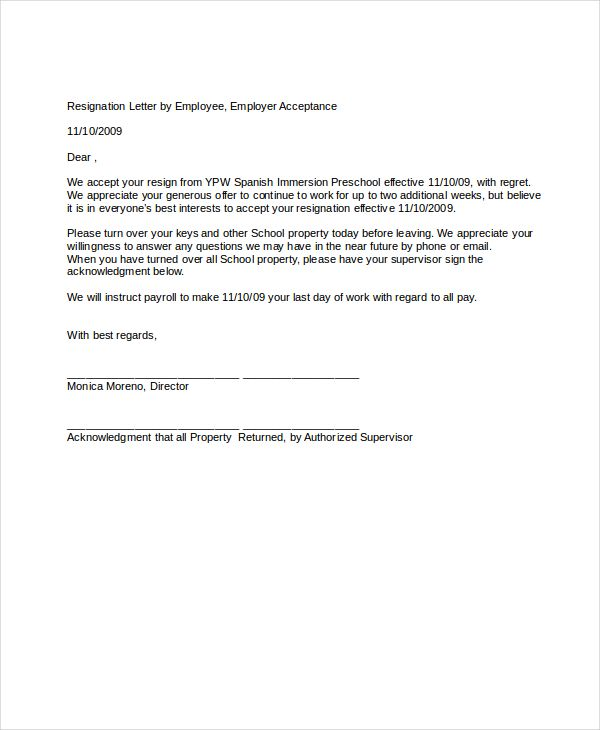 resignation letter free word pdf documents download dandy employee - employment acceptance letter
