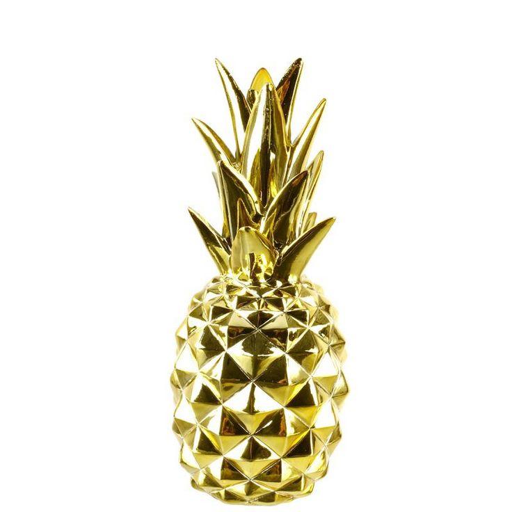 Dekoracja złoty ANANAS 24 cm - dekoracyjny ananas PINEAPPLE - NieMaJakwDomu
