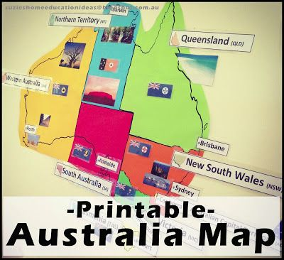 Suzie's Home Education Ideas: Australia Map Printable, with capital city tags and flags.