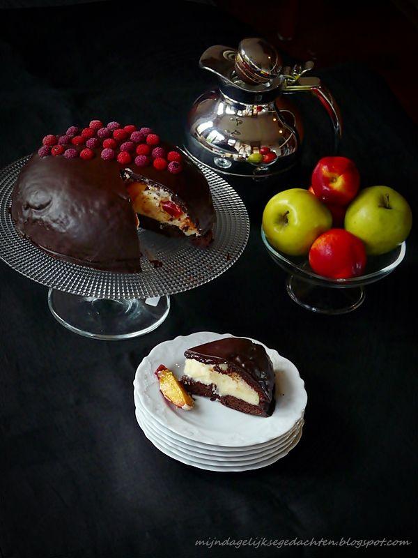Peach Pudding Chocolate Cake/ Персиково-Шоколадный Торт-Пудинг