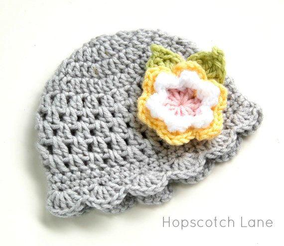 Crochet baby Hat  Gray Yellow Pink  Photo Prop Newborn Baby Girl Beanie Hat with Crochet Flower Baby Girl