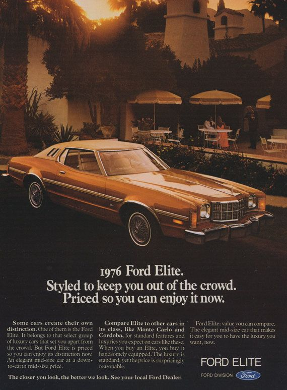 1976 Ford Elite Car Photo Ad Vintage Advertisement by AdVintageCom : classic ford used cars - markmcfarlin.com