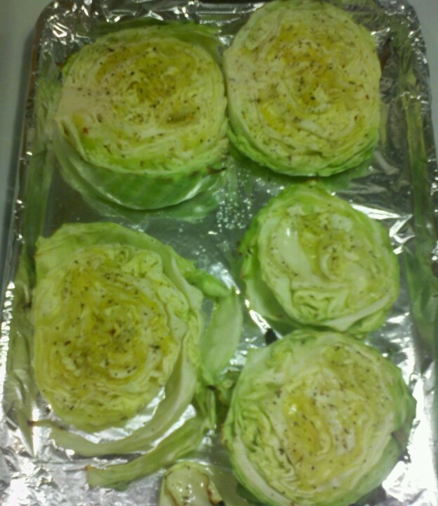 This roasted cabbage was so easy & so good. It was actually kind of sweet. I placed sliced cabbage on top of an olive oil greased cookie sheet. Salt, Pepper & Italian seasoning & topped by brushed olive oil bake @ 425 15-20 mins. Quick, easy & tasty vegetable.