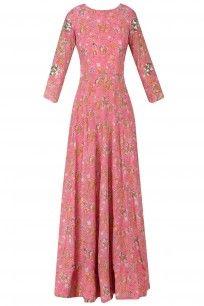 Pink Floral Flared Cutout Maxi Dress