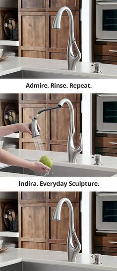 Indira is art for the kitchen.   A statuesque neck, elegant curves, and a distinctly artful silhouette make the Indira faucet a unique kitchen statement like no other.  http://pfsoci.al/indirafaucet