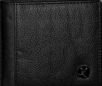 Mens Genuine Leather Wallet: Black With Eagle