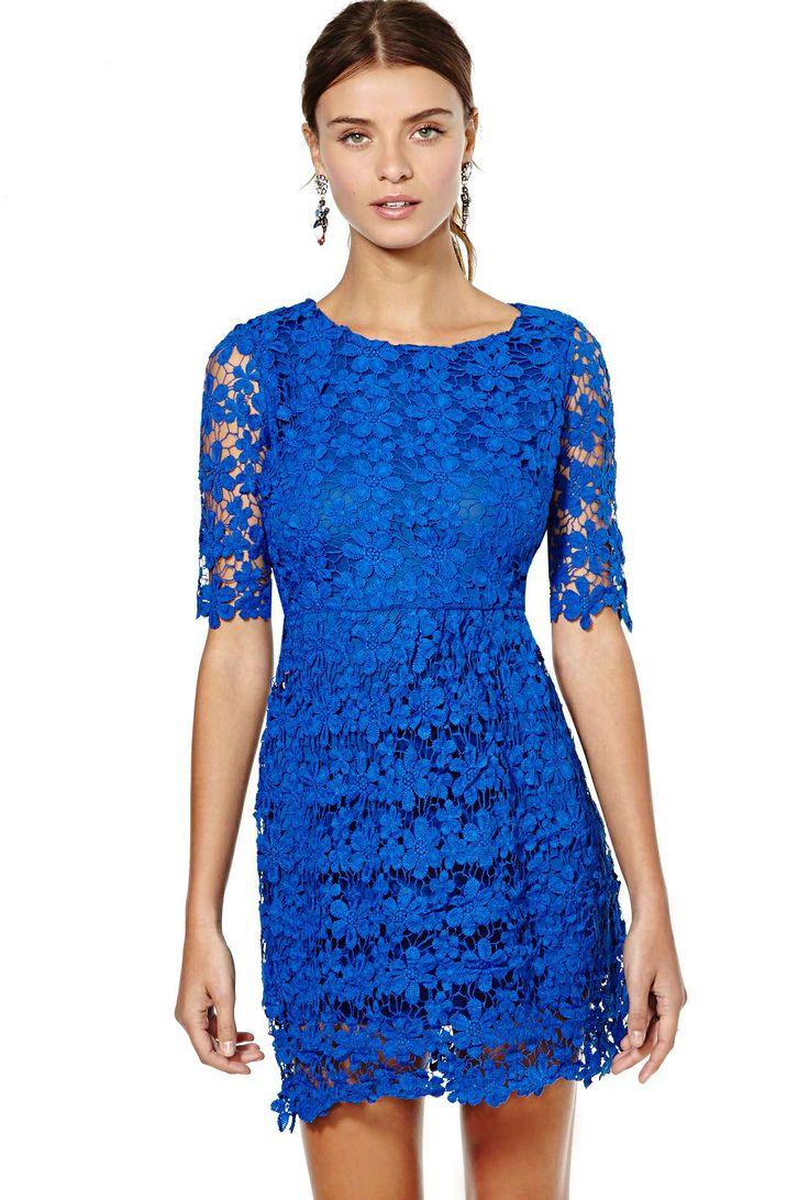 Blue Short Sleeve Hollow Floral Crochet Bodycon Dress US$39.98
