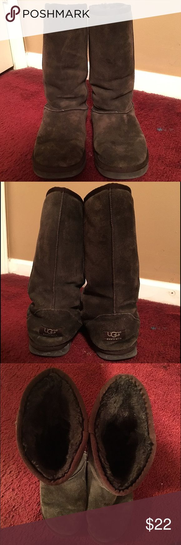Brown UGG Boots Classic Tall Chocolate (brown) colored UGG boots. Previously owned but still in good condition. Chocolate color has faded a little bit - can see in pictures. Original box included. No trades! UGG Shoes Winter & Rain Boots