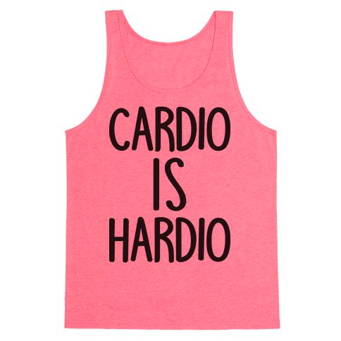 "Cardio Is Hardio - Show off your funny gym humor with this cardio workout design featuring the text ""Cardio Is Hardio"" for your difficult relationship with cardio fitness! Perfect for funny gym quotes, gym cardio, gym puns, funny fitness, cardio quotes, and fitness humor!"