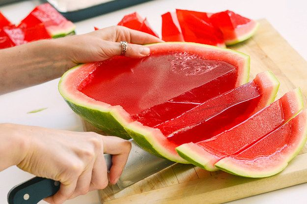 1 12–16 pound watermelon 4 cups vodka 4 3-ounce boxes red Jell-O mix 2 8-ounce boxes unflavored gelatin