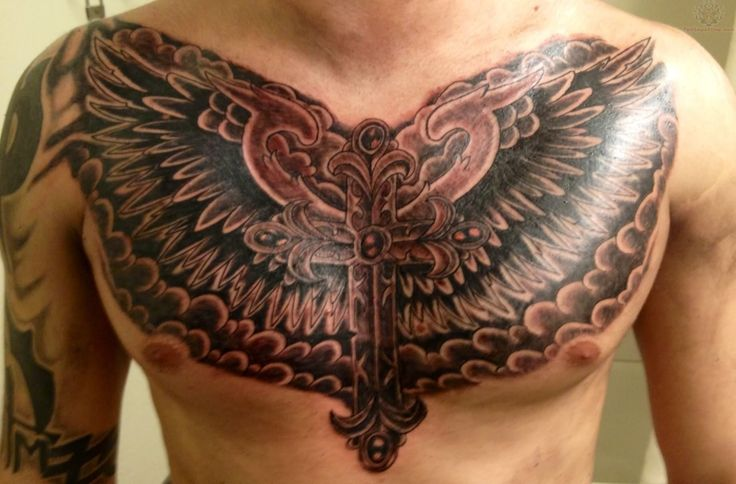 chest piece | Winged Cross Tattoo On Men Chest - 2013/05 ...