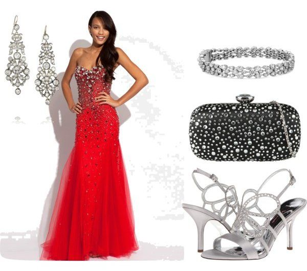 Accessorizing embellished long red prom dress with silver for How to match jewelry with prom dress