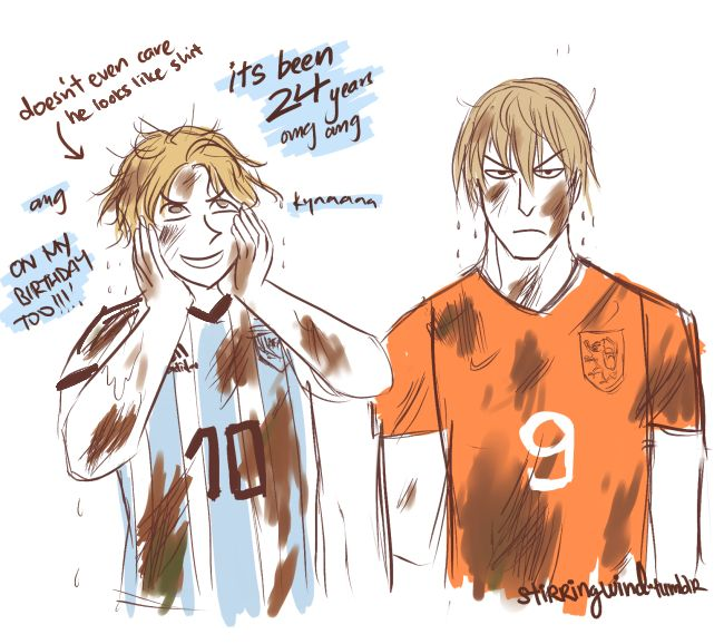 FIFA 2014 Argentina VS Netherlands. Part2/2. By one grand design. Artist's Comments: it was pouring like crazy during yesterday's semifinal- i'm not sure your hair gel ever had a chance, Ned. And yes- the match was on Argentina's independence day :P