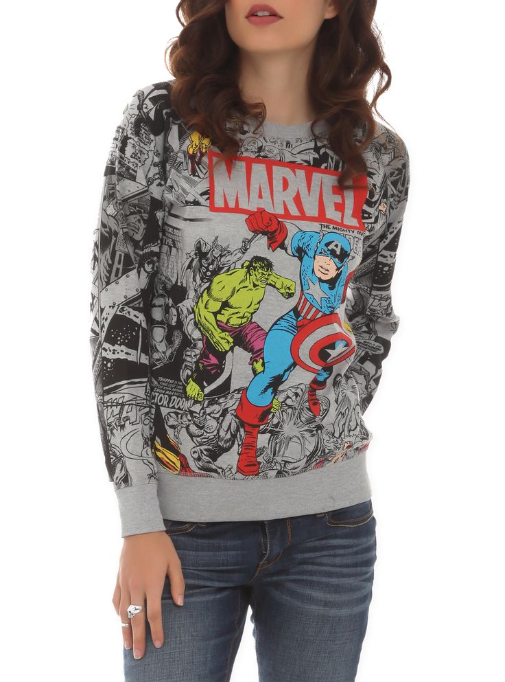Grey reversible pullover with a large color accented Avengers design on one side and a smaller black print on the other.