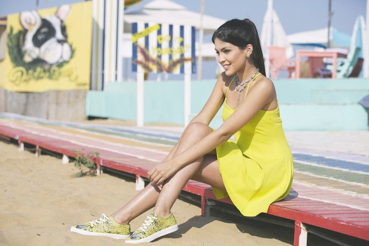 Yellow is always good colour. Yellow dress and yellow printed sneakers. Amazing combo.