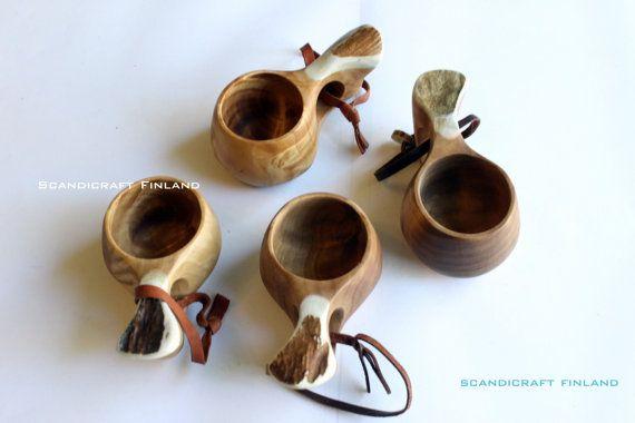 1.7oz 50ml Handmade Kuksa Wooden Drinking Cups- Shot Glass- Reindeer Antler Handle- Scandinavian Bushcraft -Scandicraft Finland