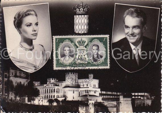 Vintage briefkaart Prinses Grace en Prins door foundphotogallery