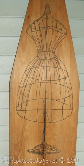 old ironing board re-do but paint the ironing board in black or a color and paint the dress form white.