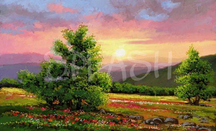 Paisaje clásico de campo con amapolas y árboles SP119