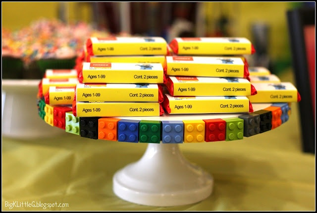 Lego Party - love the decorated cake stand