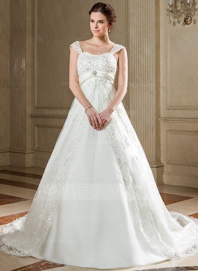 Wedding Dresses - $227.99 - Empire Sweetheart Chapel Train Satin Tulle Wedding Dress With Lace Sash Beadwork Sequins (002000225) http://jjshouse.com/Empire-Sweetheart-Chapel-Train-Satin-Tulle-Wedding-Dress-With-Lace-Sash-Beadwork-Sequins-002000225-g225?ver=xdegc7h0