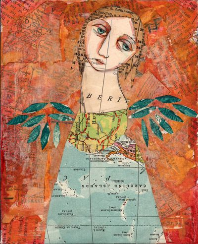 map girl by Sarah WymanSarah Wyman, Art Lessons, Artamanda Blake, Collage Art, Art Journals, Paper Art, Artists Assemblage, Maps Girls, Maps Backgrounds