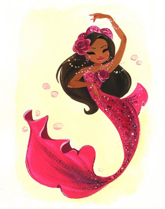 This sassy mermaid is ready to dance! This is an 8x10 digital print of an original gouache painting. It will come printed on Epson Velvet Fine Art Paper